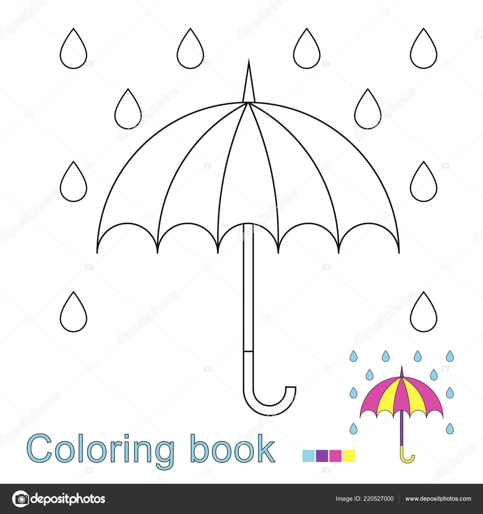 Ilustración Vector Ubrella Las Gotas Lluvia Para Colorear