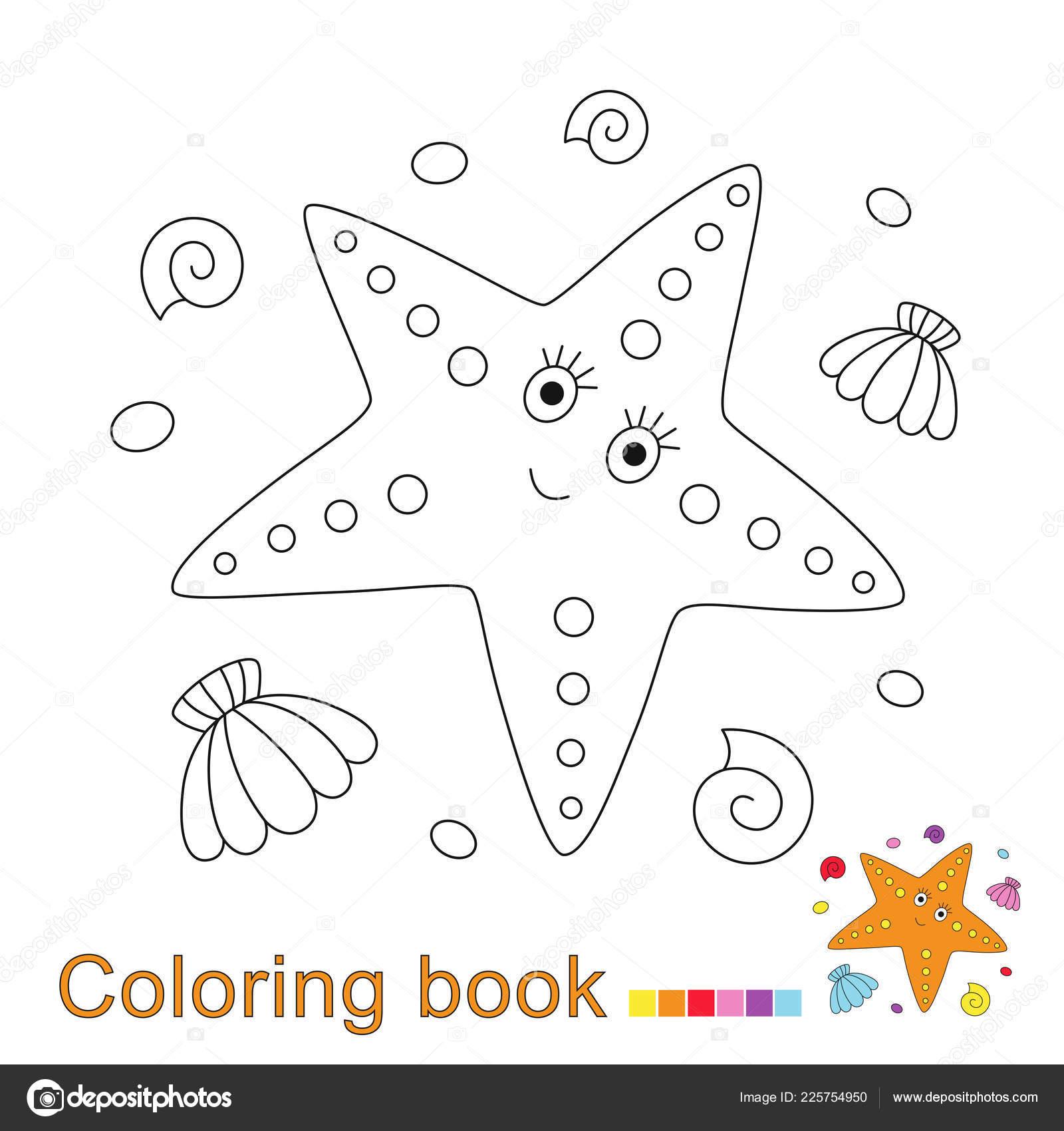 Coloriage Etoile De Mer Et Coquillage.Illustration Vectorielle Etoile Mer Coquillages Galets Pour