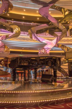 Luxury sparkling interior with Grand piano and floor with rhinestones on cruise liner MSC Meraviglia, 8 October 2018