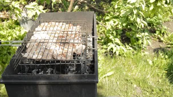 Připravte grilování syrového masa na grilu. Na pikniku za slunného letního dne se ogriluje s vepřovým masem a zapíná gril. Chutný maso a kouř z uhlí vytváří dobrou náladu
