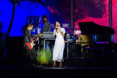 PANENSKY TYNEC, CZECH REPUBLIC - JUNE 29, 2018: Famous American singer Lana Del Rey (right) during her performance at Aerodrome festival in Panensky Tynec, Czech Republic, June 29, 2018.