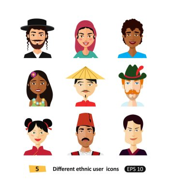 Multicultural national people avatars users flat icons international people men and women  in traditional costumes vector