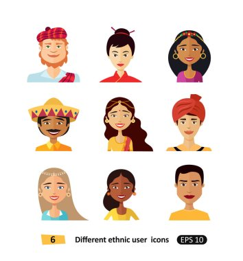 Avatars people of various nationalities in traditional costumes isolated vector illustrations