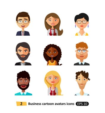 Set of diverse buiness avatars different nationalities, clothes and hair styles