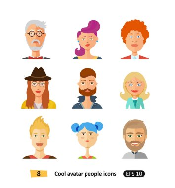 Stylish handsome characters avatars people icons in modern flat design vector
