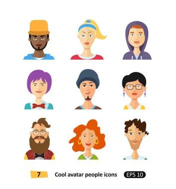 Flat cool avatars people set  for social networks, mobile application or web design