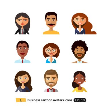 Users business people, men and women avatar flat  icons vector illustration