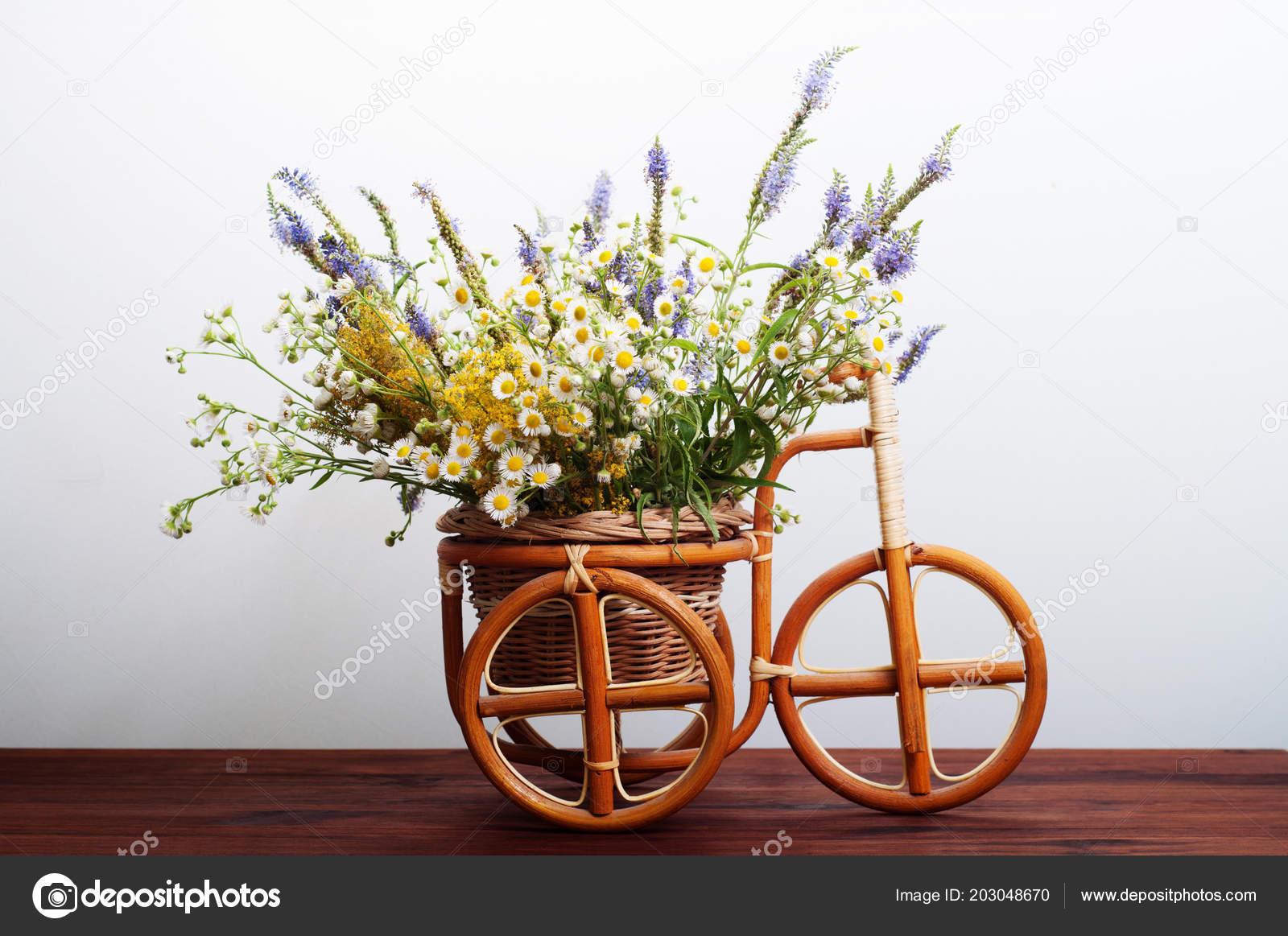 Brown Bicycle Made Vine Basket Flowers Wild Flowers Bicycle White