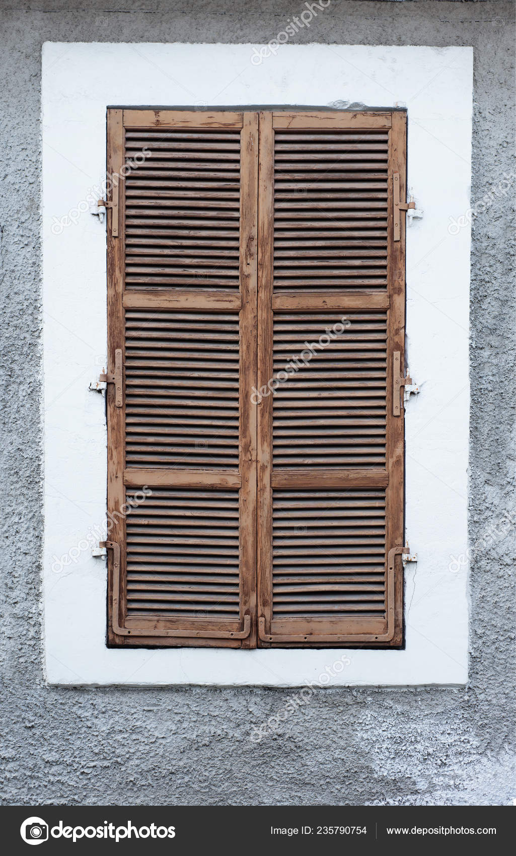 Window Brown Wooden Shutters Blinds Background Wall