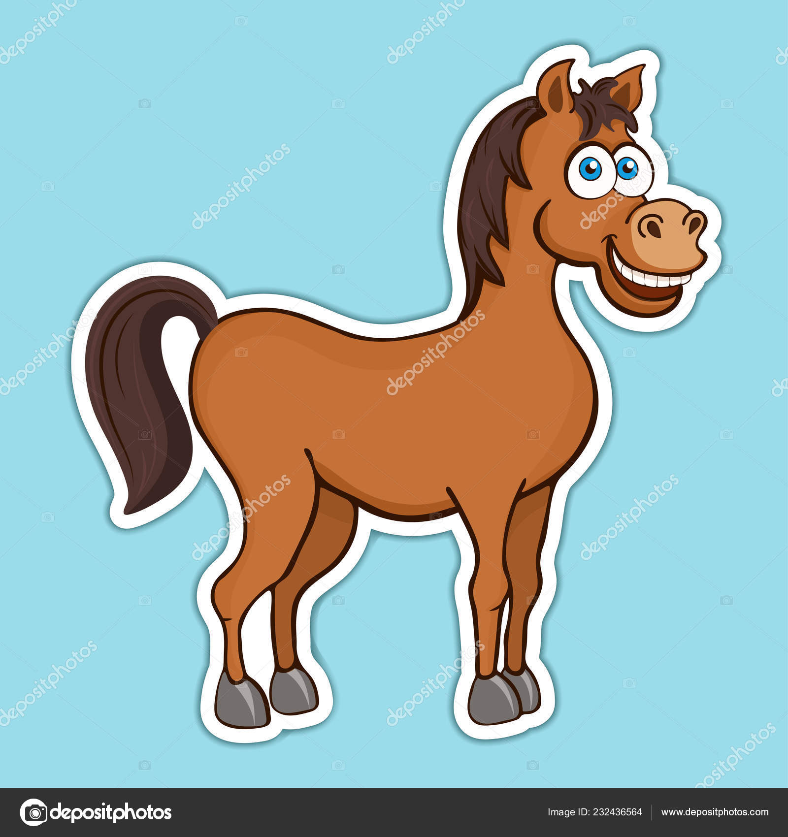 Painted Cute Funny Brown Smiling Horse Sticker Design Element Print Stock Photo C Eva Che 232436564