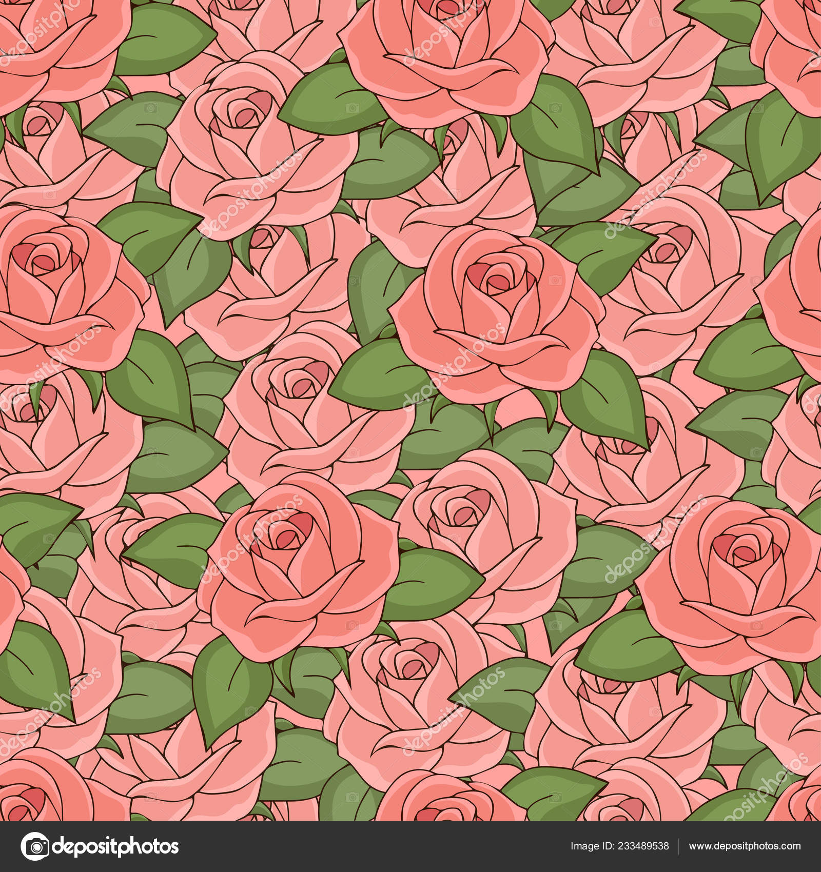 Pink Roses Seamless Pattern Hand Drawing Vector Illustration Drawn