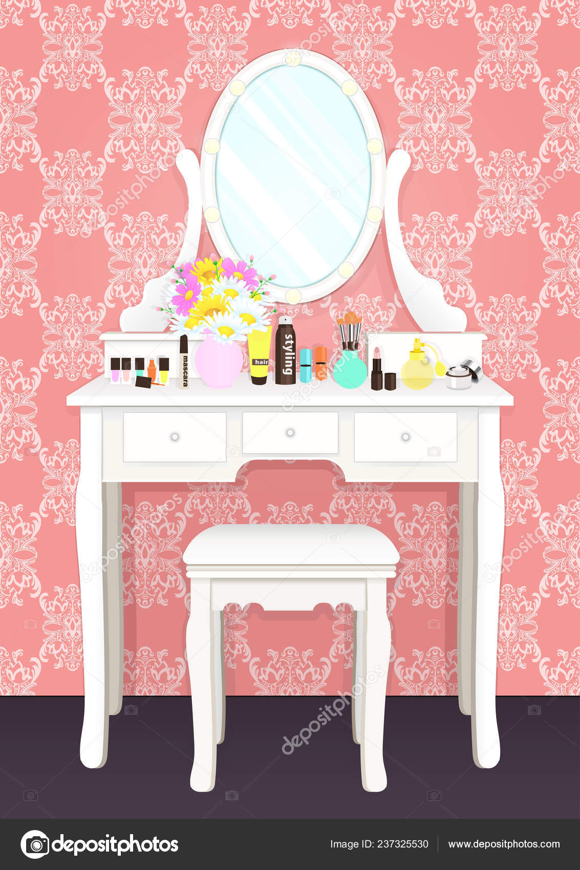 Dressing table with mirror with lights, female boudoir for makeup, flat  drawing, vector illustration. White table and mirror with light bulbs and