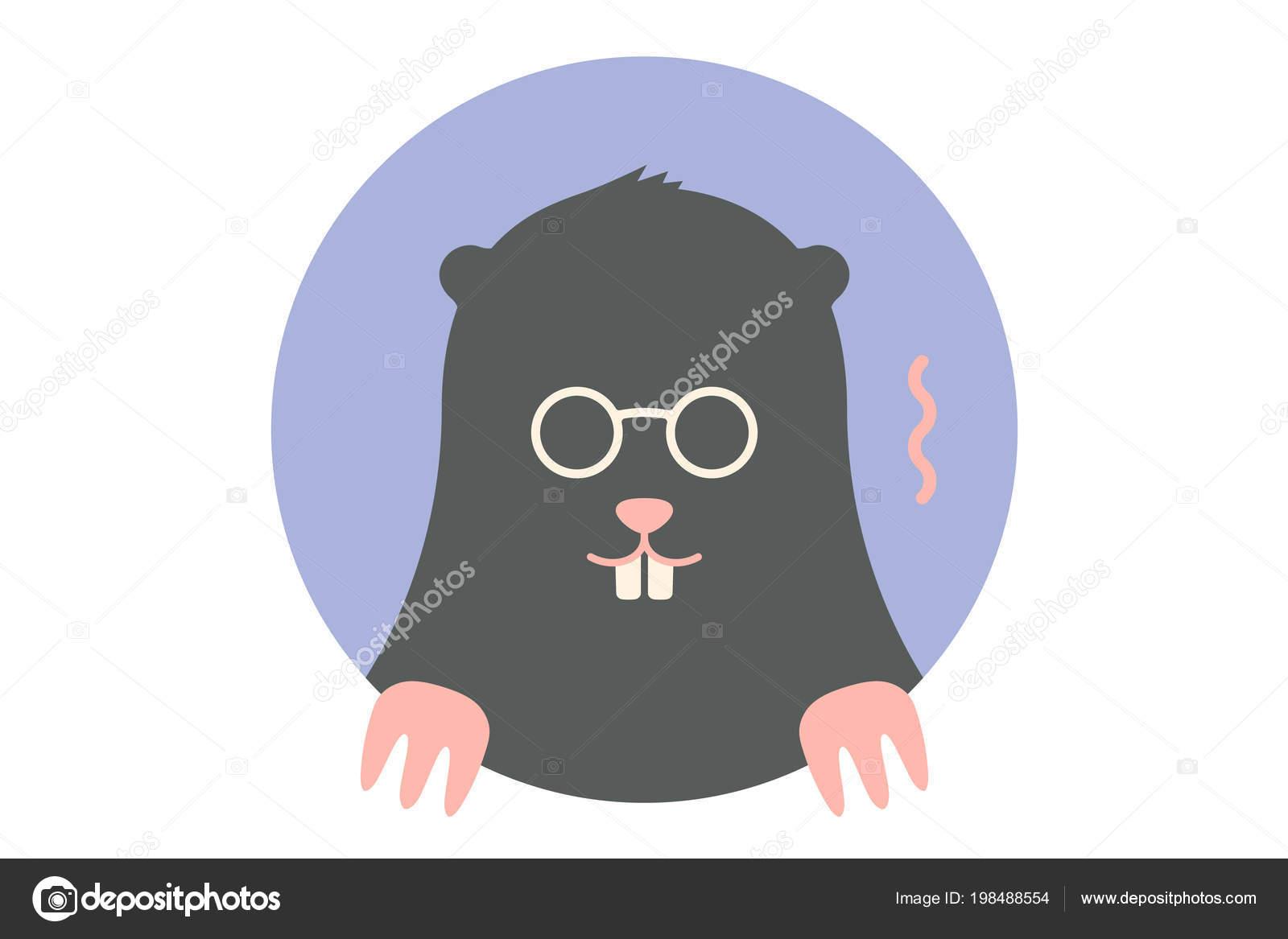 Mole Icon Black Mole Portrait Flat Graphics Mole Colorful