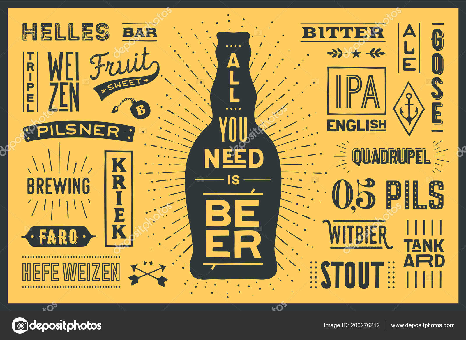beer poster banner text all you need beer names types stock vector