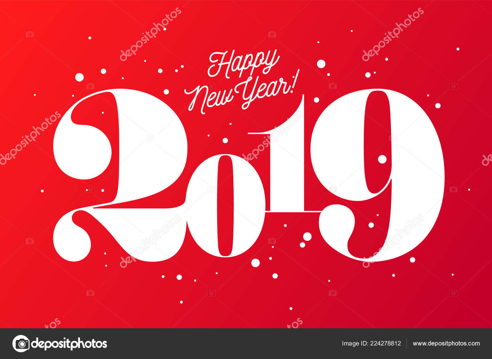2019 happy new year greeting card inscription happy new year stock vector