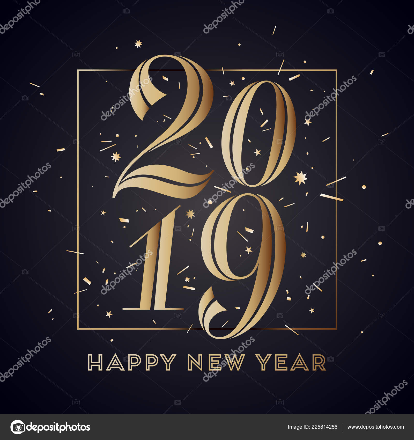 happy new year greeting card with inscription happy new year 2019 fashion style for happy new year or merry christmas theme holiday background banner