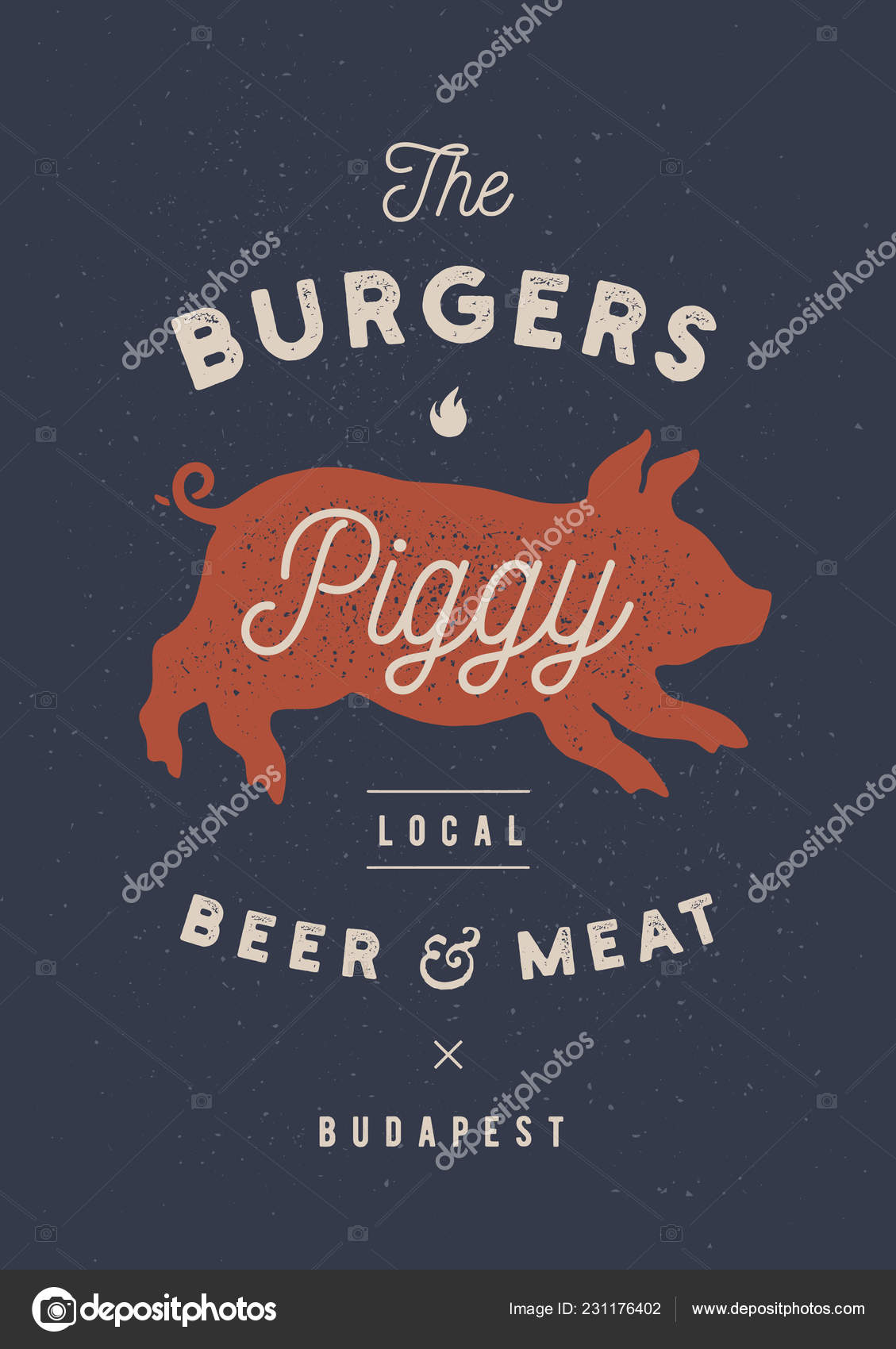 Schweinchen Schwein Schwein Vintage Label Logo Drucken