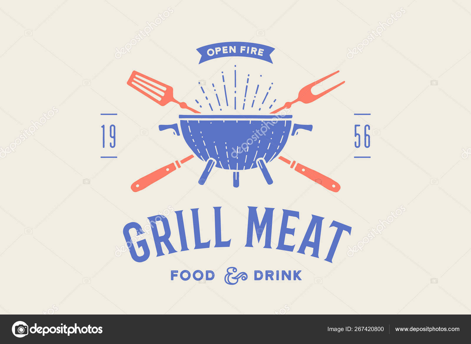 Label Logo Restaurant Logo Grill Bbq Barbecue Grill Fork Text Stock Vector C Foxysgraphic 267420800