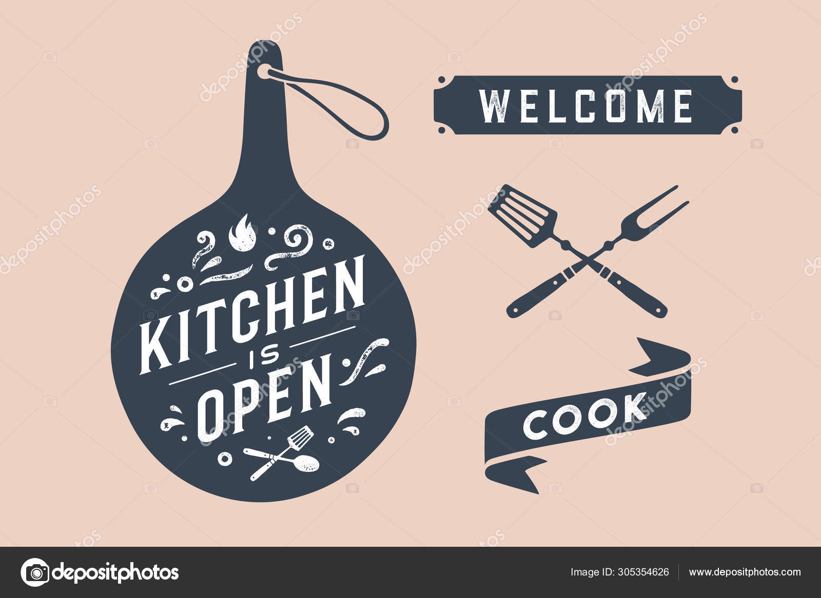 Kitchen Open Wall Decor Poster Sign Quote Poster Kitchen Design Stock Vector C Foxysgraphic 305354626