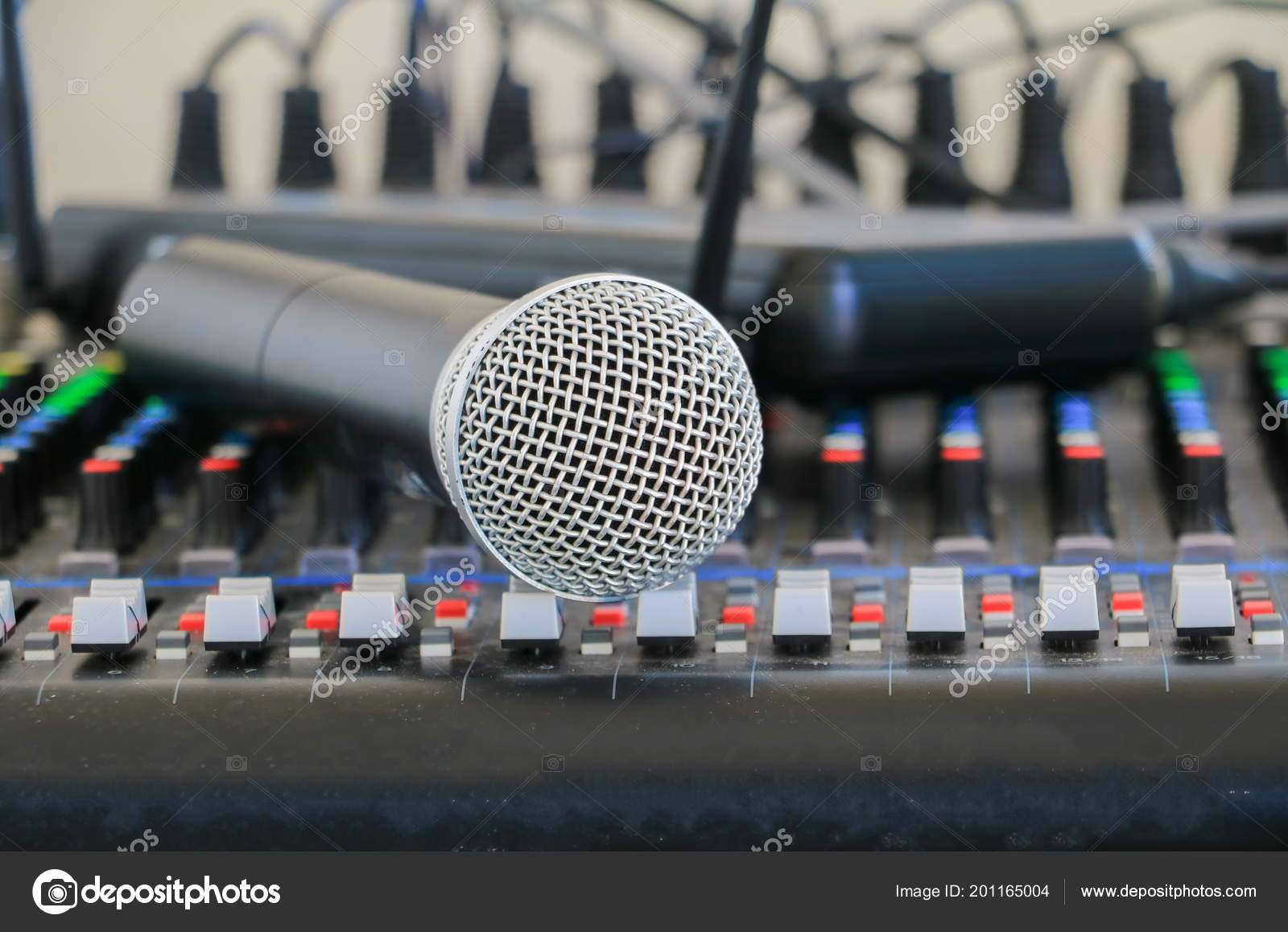 Close Microphone Sound Mixer Covered Dust Stock Photo Mot70007