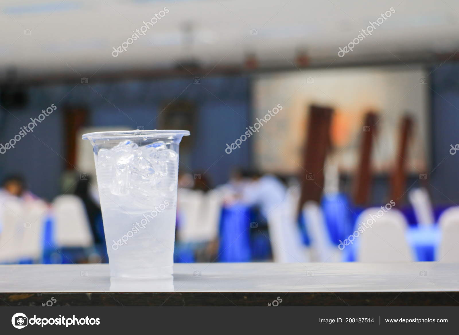 Ice Water Glass Plastic Seminar Conference Room Background