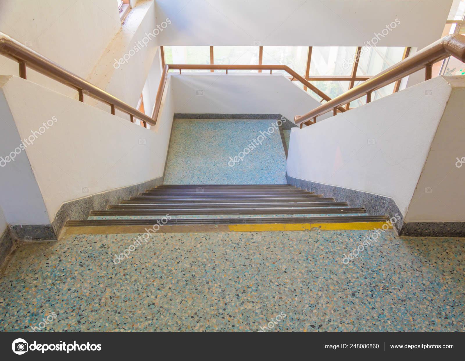 Stairs Blue Old Terrazzo Floor Walkway Down Inside The