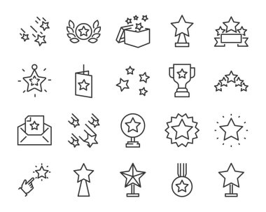 set of star icons, such as celebration, success, glory, sparkle, award, premium