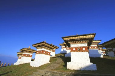 The 108 chortens (stupas) is the memorial in honour of the Bhutanese soldiers at  Dochula Pass on the road from Thimphu to Punaka, Bhutan