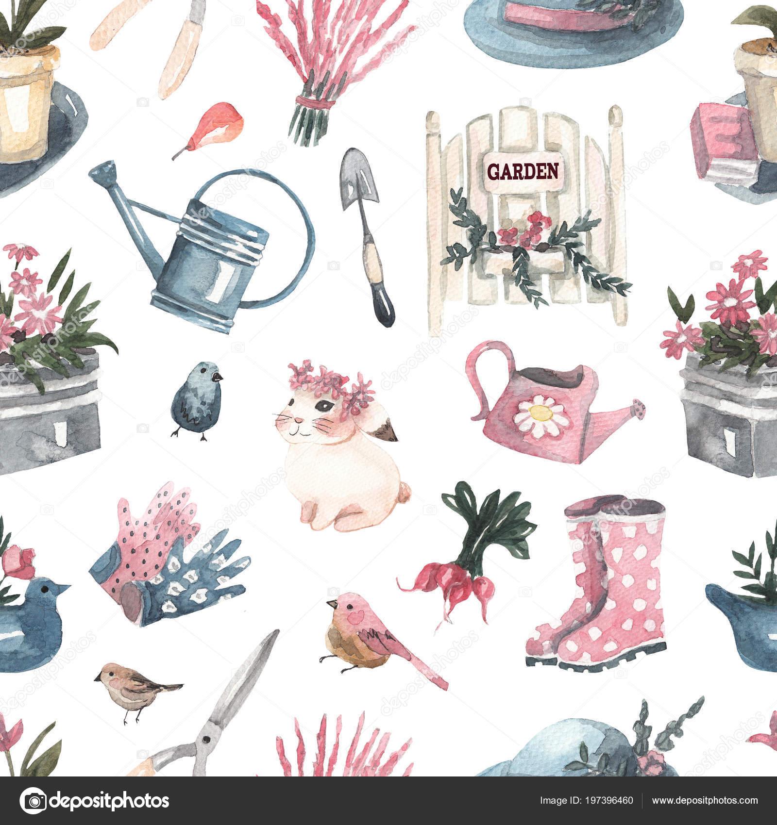 Patr n transparente con flores plantas herramientas jard n for Herramientas para el jardin