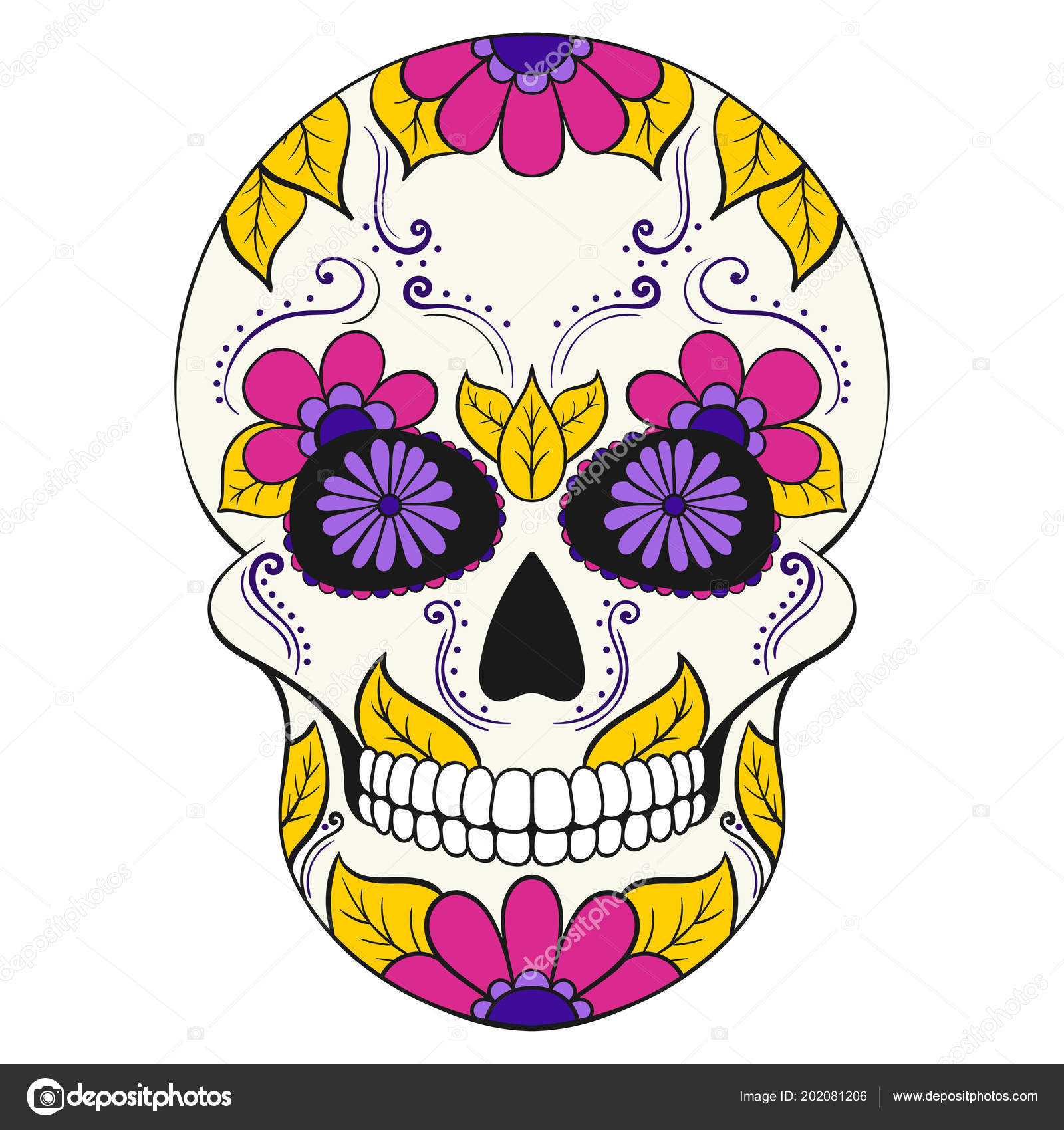 Día Los Muertos Calavera Con Ornamento Floral Calavera Azúcar