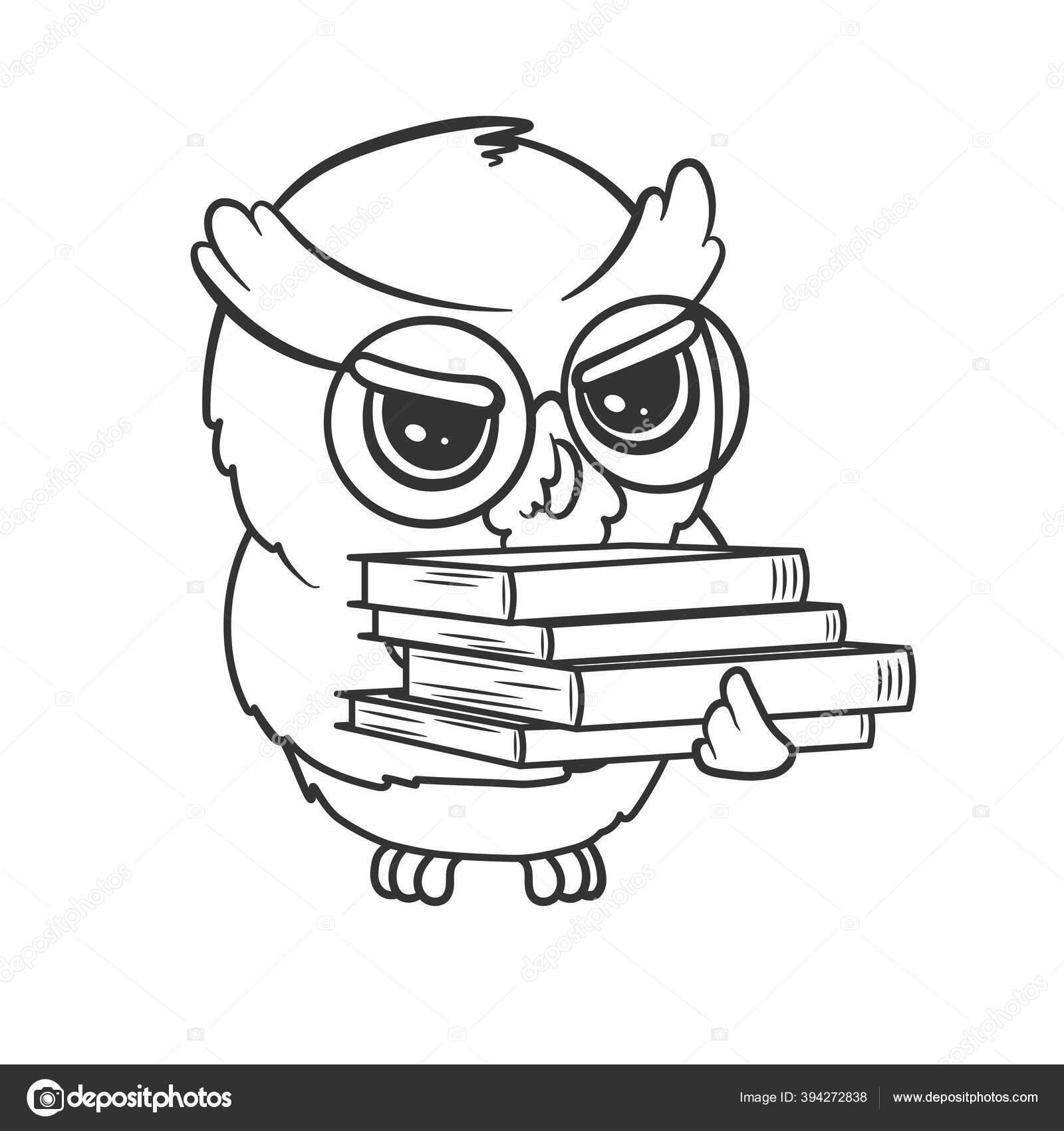 Burung Hantu Kartun Yang Lucu Dengan Setumpuk Buku Yang Terisolasi Stok Vektor C Exit Near Gmail Com 394272838