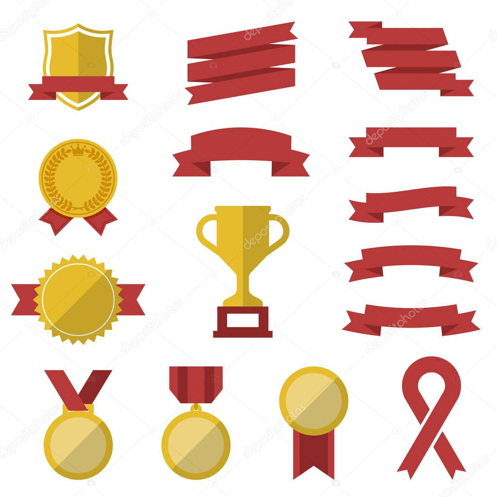 Set of awards and victory icons - vector flat trophy winner symbols or logos