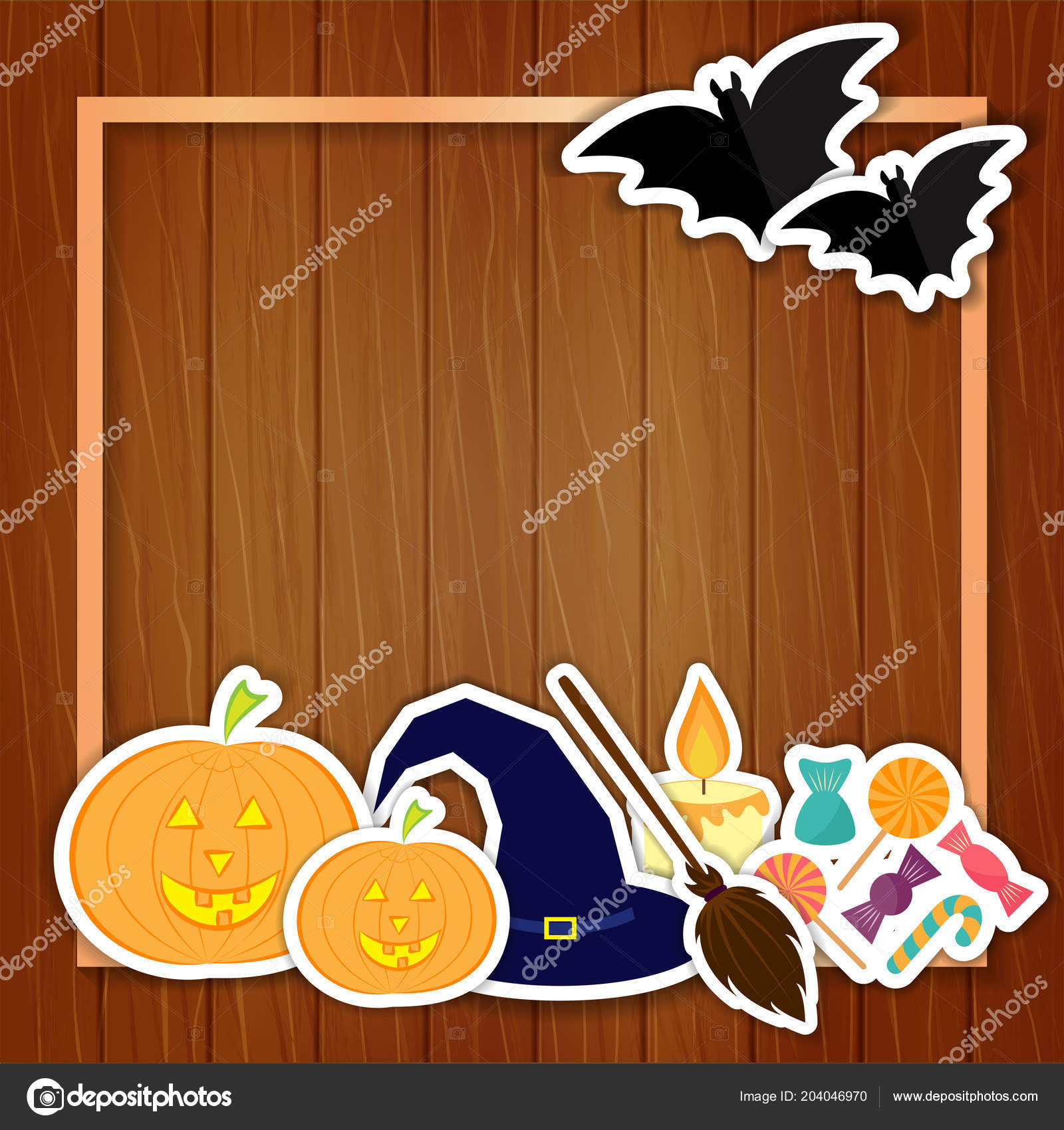 Halloween Illustration With Pumpkins Hat Broom Candle Candies