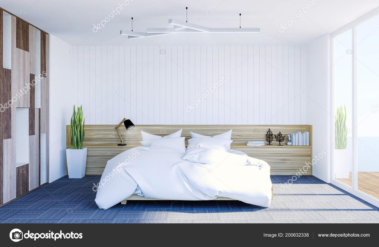Intérieur Blanc Chambre Contemporain Moderne Avec Espace ...