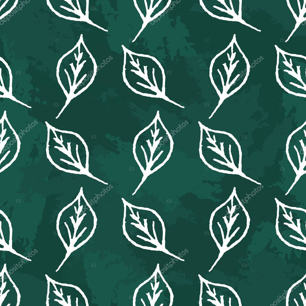 Seamless pattern of chalk leaves. Creative wrapping texture of simple hand drawn white shapes on green background. Nature illustration.