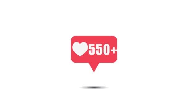 Růžové jako ikona na bílém pozadí pro sociální média 1-1 milion líbí. 4K video pohybu