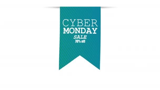 Cyber hétfő eladó zászló. Promóció 4k mozgó videó felvételek