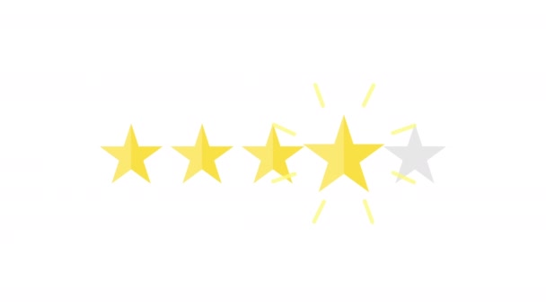 Five Rating Stars Product on white background. Usability Evaluation, Feedback. Motion Graphics. Transparent Background
