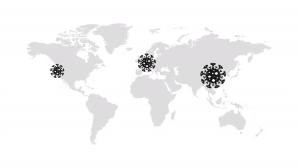 Animation video Coronavirus on the world map in China, Europe, USA, Africa, Australia and in many other countries