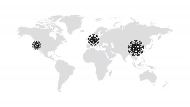 Animační video Coronavirus na mapě světa v Číně, Evropě, USA, Africe, Austrálii a v mnoha dalších zemích