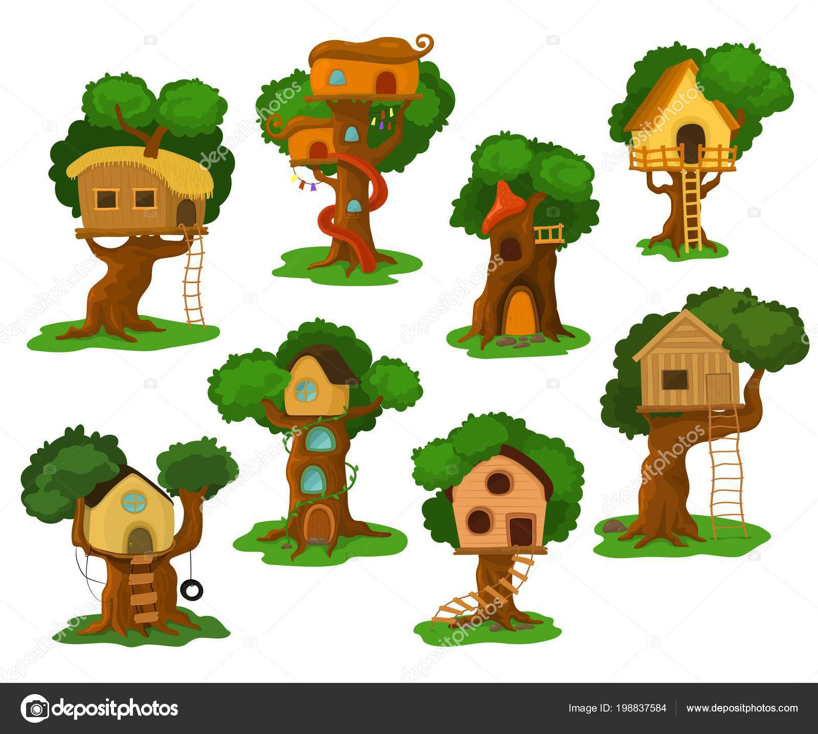 Kids Wooden Tree House Tree House Vector Wooden Playhouse Building On Oak Tree For Kids In Garden Or Park Illustration Set Of Treehouse Construction On Playground With Roof Or Stairs Isolated
