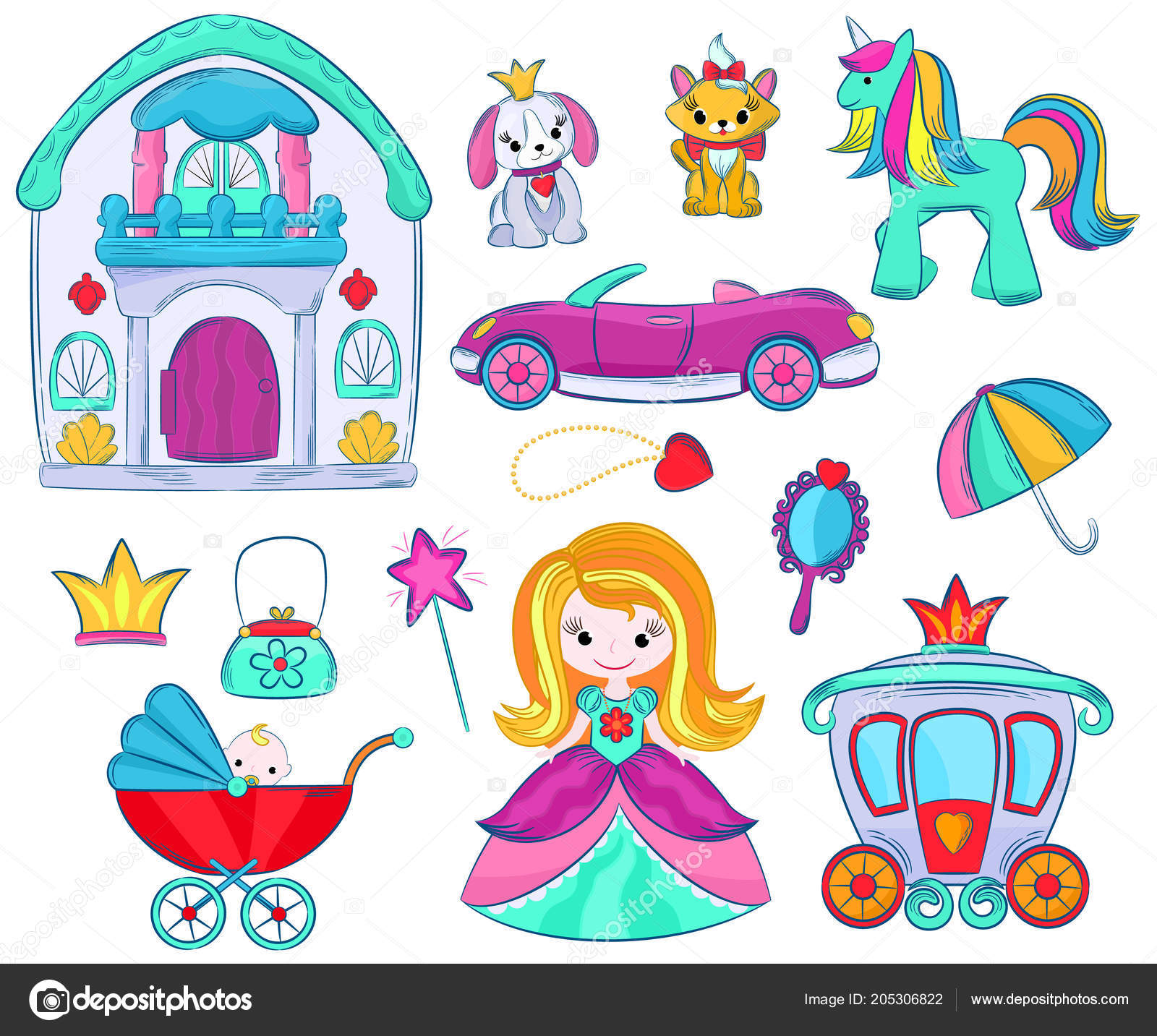 Kids Toys Vector Cartoon Girlie Games For Children In Playroom And