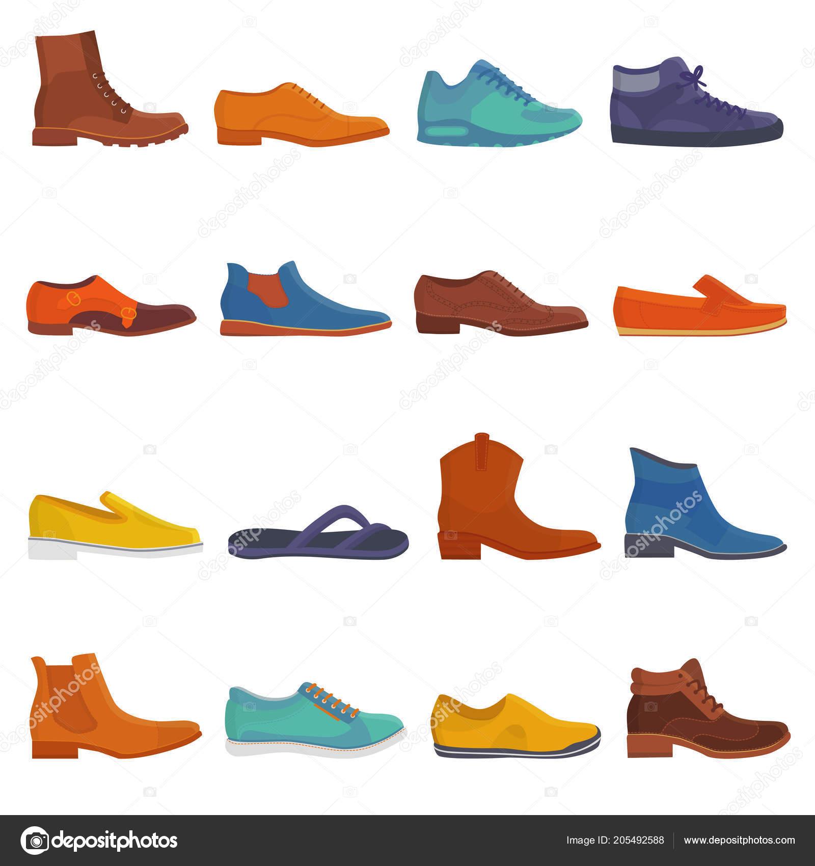 aeb90fe985 Homem sapato vetor masculinas botas e calçado de moda ou calçado de couro  clássico ou botinhas para conjunto de ilustração de homens de pé-engrenagem  homens ...