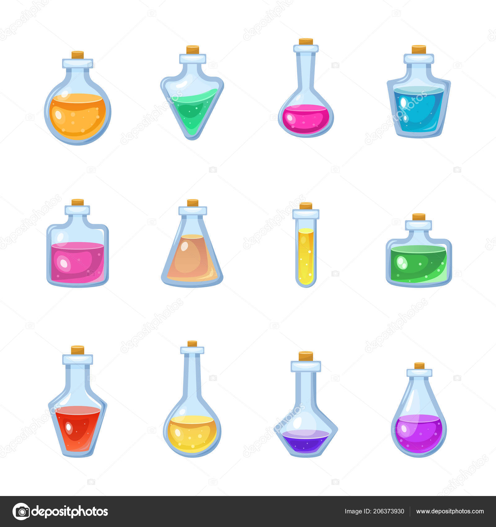 Magic bottle vector magical game potion in glass or liquid