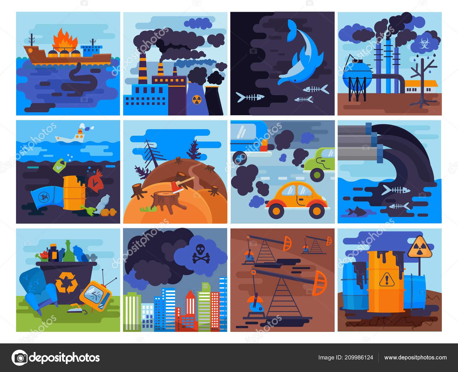 Medio Ambiente Contaminado Dibujos Animados