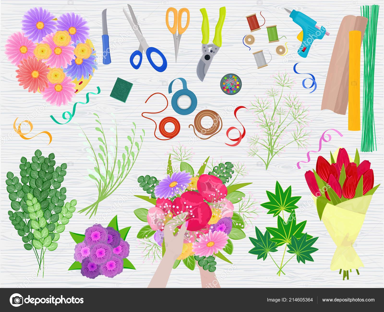 Floristics vector florists hands making beautiful floral bouquet and floristics vector florists hands making beautiful floral bouquet and arranging flowers in flowershop illustration of flowering izmirmasajfo