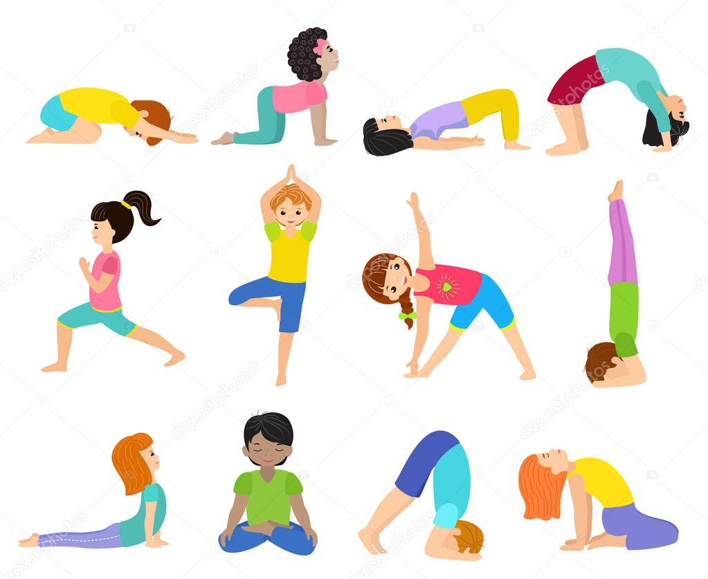 Yoga Kids Vector Young Child Yogi Character Training Sport Exercise Illustration Healthy Lifestyle Set Of Cartoon Boys And Girls Activity Of Stretching Meditation Isolated On White Background Premium Vector In Adobe