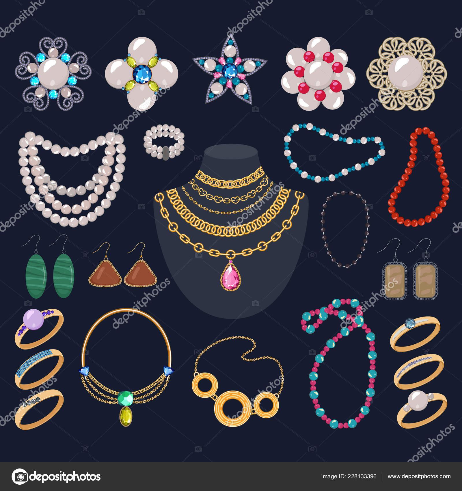 62e903a67a9c Joyas vector joyería oro pulsera collar hermosos aretes y anillos de plata  con diamantes ilustración conjunto de mujer joya perlas accesorios aislados  sobre ...
