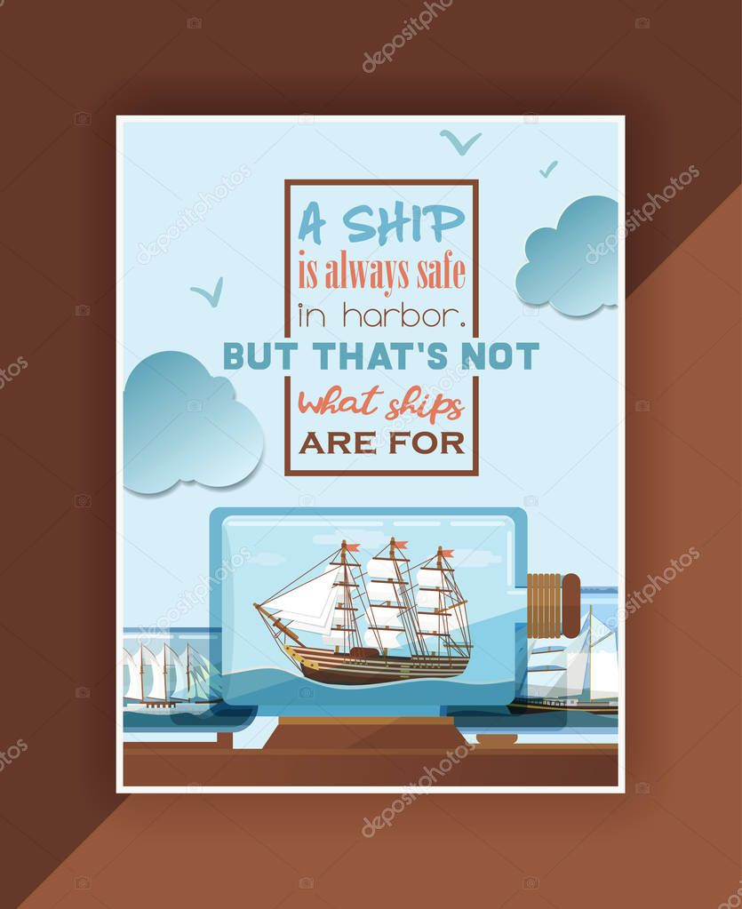 Ship in bottle vector boat in miniature backdrop gifted sail souvenir in glass sailboat with cork wallpaper shipping in flask background lettering sign ad