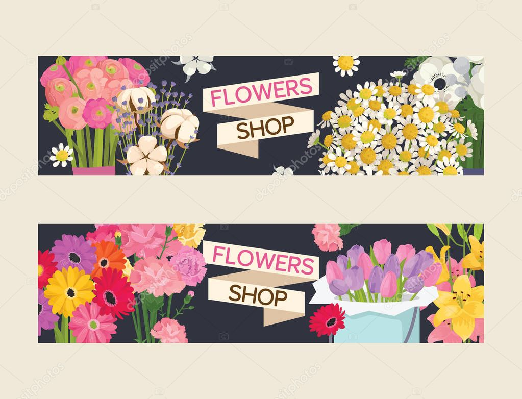Bouquet vector beautiful floral backdrop with blossom flowers illustration flowering set of flowery tulip on valentine birthday holiday background